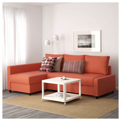 friheten corner sofa bed with storage skiftebo orange ikea
