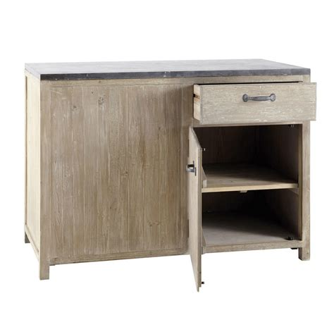 meuble bas de cuisine en bois recycl 233 l 120 cm copenhague maisons du monde