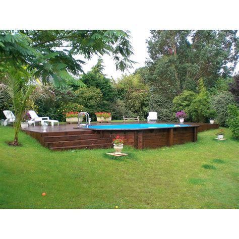 piscine hors sol bois samoa xl diam 5 05 l 5 05 x l 3 55 x h 1 3 m leroy merlin