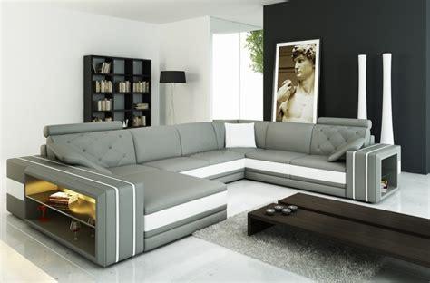 canap 233 d angle en cuir italien 8 places bentley gris clair et blanc mobilier priv 233