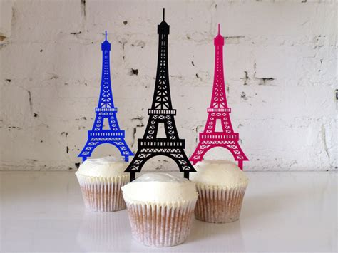 eiffel tower cupcake topper by misssarahcake on etsy