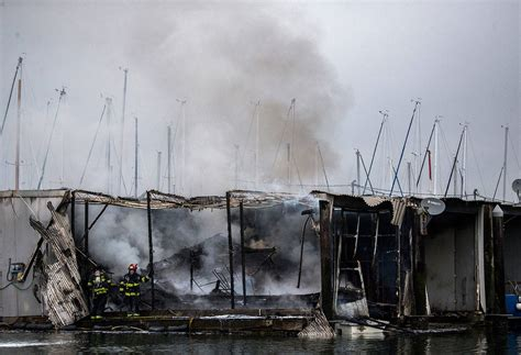 Everett Fire Boat by Several Boats And Boathouses Damaged At Everett Marina