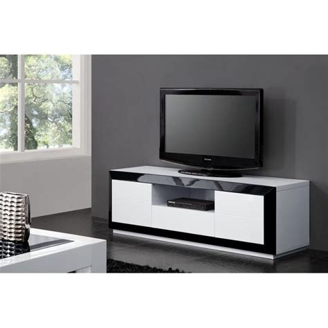 meuble tv haut noir laque