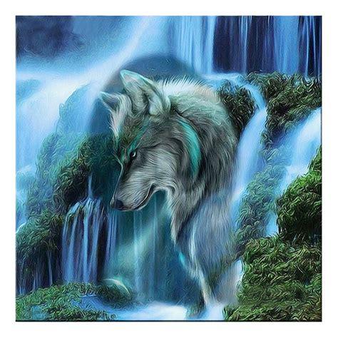 Diamond Painting Wolf met waterval  30x30  €7,50 ronde