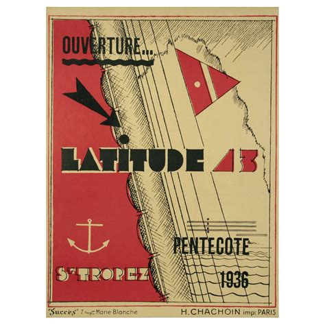 deco period poster for latitude 43 by g h pingusson 1936 for sale at 1stdibs
