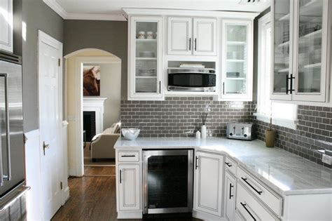 gray subway tile transitional kitchen