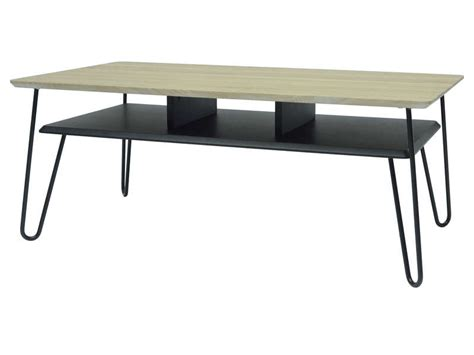 table basse rectangulaire avec 1 tablette et pieds epingles coloris noir et bois