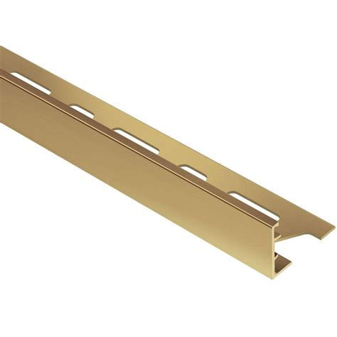schluter schiene solid brass 9 16 in x 8 ft 2 1 2 in metal l angle tile edging trim m150