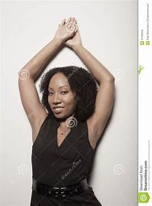 Woman Posing With Her Arms Above Her Head Stock Image ...