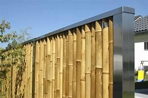 Bambus Edelstahl Sichtschutz : heuberger z une sichtschutzw nde aus bambus winterfest und witterbest ndig ~ Markanthonyermac.com Haus und Dekorationen