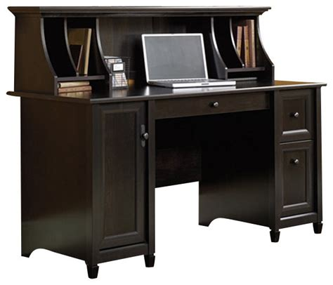 sauder edge water computer desk and hutch set in estate black transitional desks and hutches