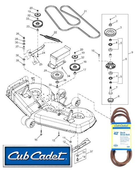 cub cadet mower deck parts diagram cub cadet mower deck