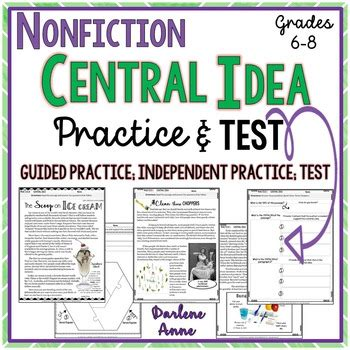 Nonfiction Central Idea Practice Worksheets & Assessment Middle School English