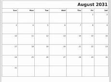 April 2031 Month Calendar
