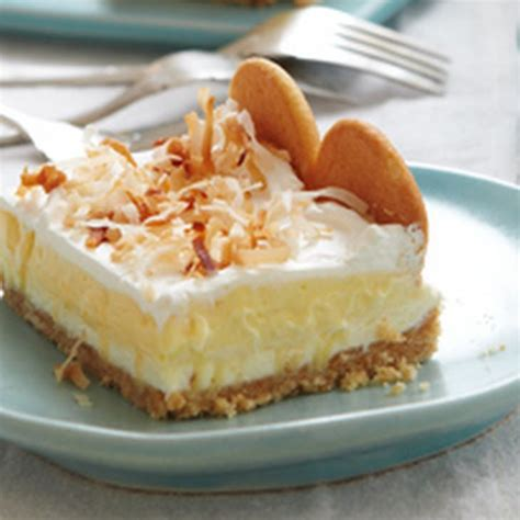 layered coconut cheesecake bars recipe desserts with vanilla wafers butter philadelphia