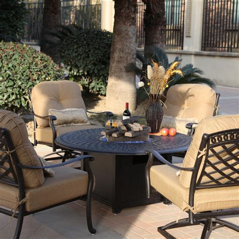 Patio Conversation Sets With Pit by Darlee Sedona 5 Cast Aluminum Patio Pit