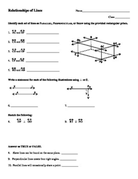 Parallel And Intersecting Lines Worksheets For Math