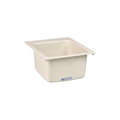 shop mustee 17 in x 20 in 1 basin biscuit self composite laundry sink at lowes