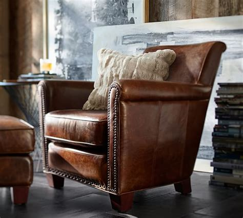 Pottery Barn Irving Chair by Irving Leather Armchair Pottery Barn