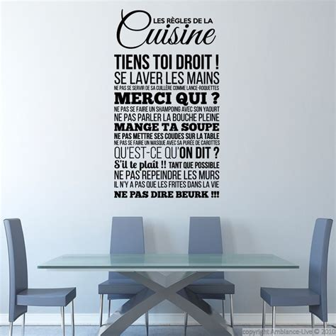 sticker les r 232 gles de la cuisine stickers citations fran 231 ais ambiance sticker cuisine