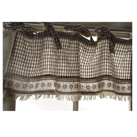 rideau brise bise coton beige motif vichy et edelweiss les sculpteurs du lac
