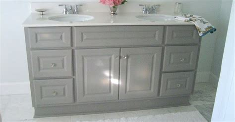 Diy Custom Gray Painted Bathroom Vanity From A Builder Kitchen Sink Dishwasher Overflow Commercial Faucets Over The Liquid Plumr For Sinks Moen Faucet Parts What To Do If Is Clogged Waste Size 16 Gauge Stainless Steel Top Mount
