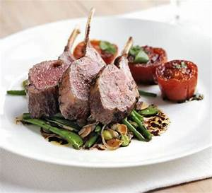 Rack of lamb with warm salad of mixed beans & slow roast