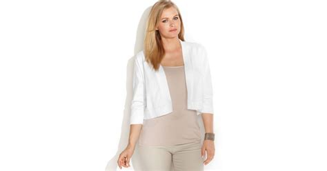 Calvin Klein Plus Size Lace-back Cropped Cardigan In White