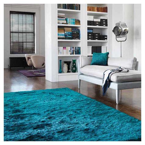 tapis contemporain shaggy bleu turquoise