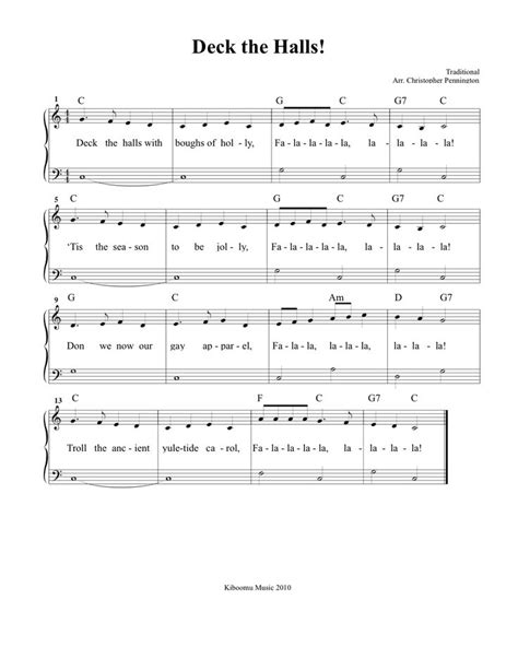 Deck The Halls Easy Piano by Deck The Halls Sheet Music And Song For Christmas Kids