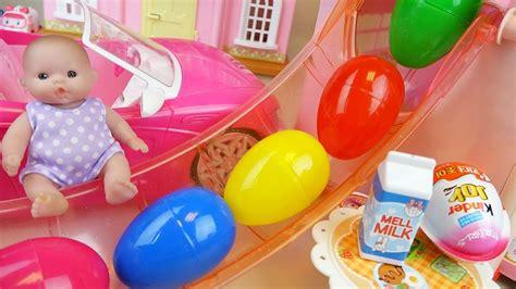 Surprise Eggs Slide Baby Doll House And Kinder Joy, Car