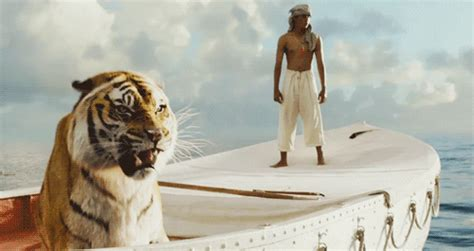 Movie Boy In Boat With Tiger by Life Of Pi Gifs Find Share On Giphy