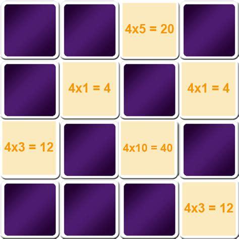 jeu de table de multiplication de 4