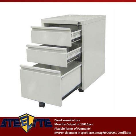 beige mobile 3 drawer pedestal cabinet wood desk