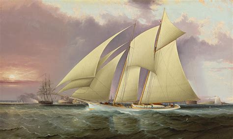 Boat Paintings By Famous Artists by The Yacht Magic Defending America S Cup Painting By James