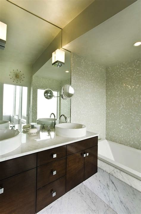 floating bathroom vanity with bowls sinks modern bathroom