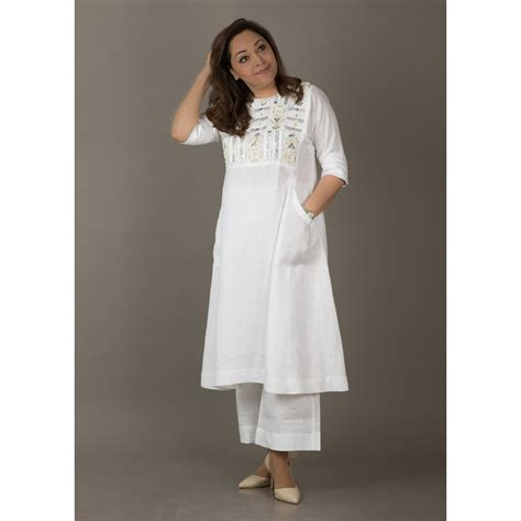 Vaaya  Ivory Beige Pure Linen Dress