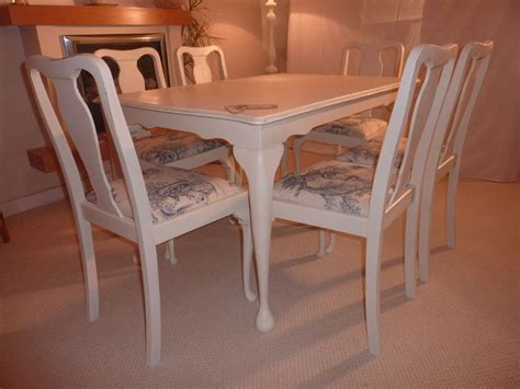 Shabby Chic Extendable Dining Table With Chairs-painted