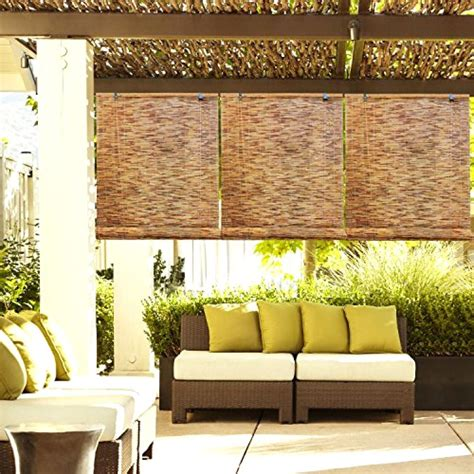 outdoor patio garden reed woven wood bamboo roll