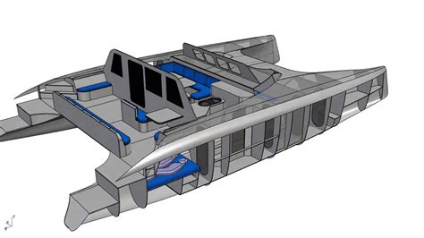 Schionning Catamaran Design by G Force 1500 Interior Cad Rendering Schionning Designs
