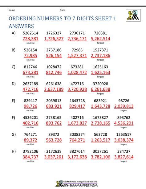 Order Numbers Homework