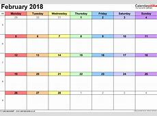 February 2018 Calendar Word monthly calendar template