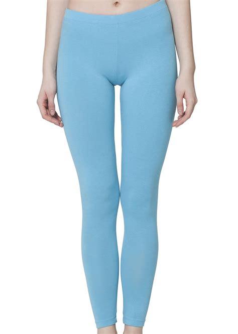 Damen Leggings Baumwolle Hellblau