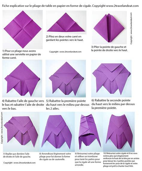 pliage de serviettes de table en papier pliage de papier origami deocration de table plier