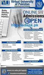 Virtual University of Pakistan Online Admissions Open ...