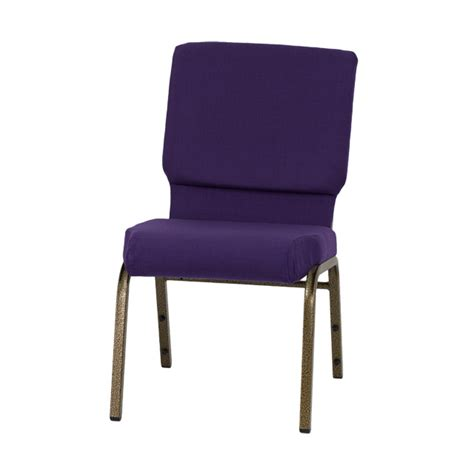 hercules series 18 5 w stacking church chair in royal purple fabric gold vein frame fd