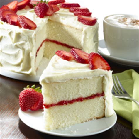 white cake with strawberry filling strawberry filled white layer cake