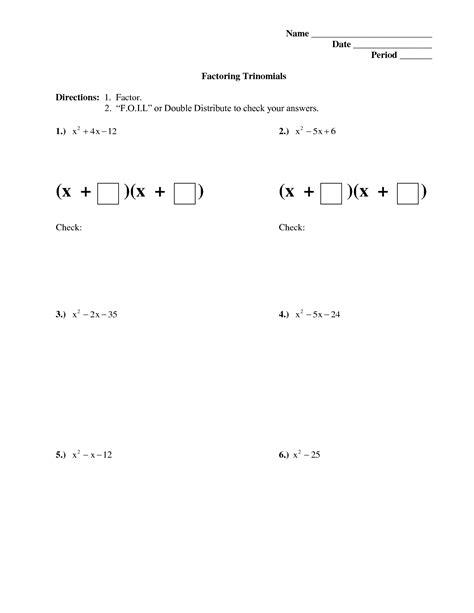 Algebra 2 Worksheets Factoring Polynomials  Factoring Polynomial Worksheetsalgebra 2 Worksheets
