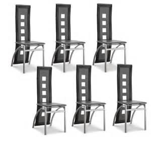 eiffel lot de 6 chaises de salle 224 manger noires et blanches simili et aluminium design