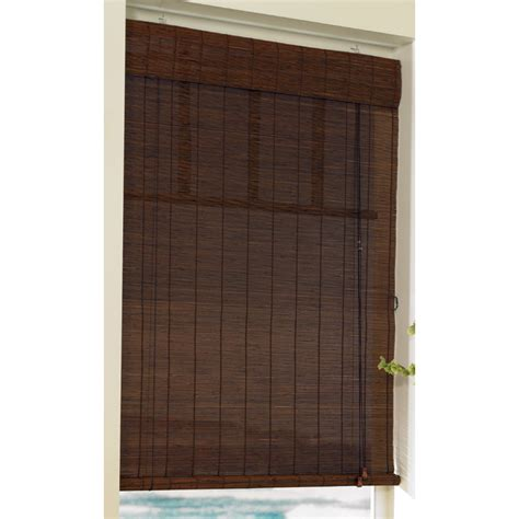shop style selections 72 in l cocoa light filtering bamboo roll up shade at lowes